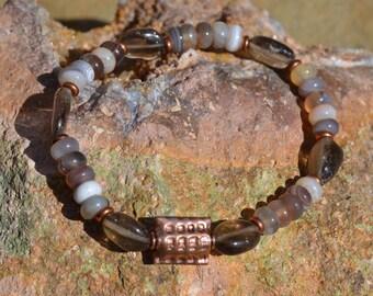 Botswana Agate, Smoky Quartz and Copper Stretch Bracelet