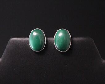 Sterling Silver Malachite Oval Stud Earrings, Sterling Malachite Earrings, Malachite Jewelry, Gemstone Stud Earrings, Oval Stud Earrings