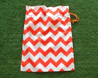 Small drawstring bag, orange & white chevron, small cotton gift bag, toy bag