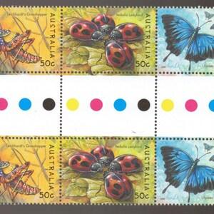 Bugs and Butterflies Gutter Strip of 10 MUH Australia Stamps - Butterfly, Grasshopper, Ladybird Stamps