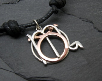 Taurus Scorpio necklace sterling silver and polished copper