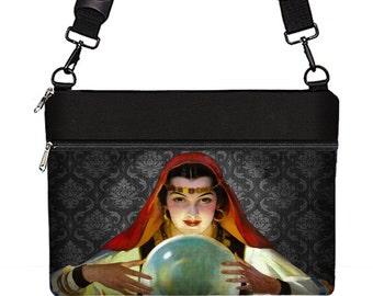 women's laptop bag 13 inch Macbook Pro case w/ crossbody strap & zipper pocket, Asus Zenbook, Lenovo Yoga, Fortune Teller Crystal Ball  RTS