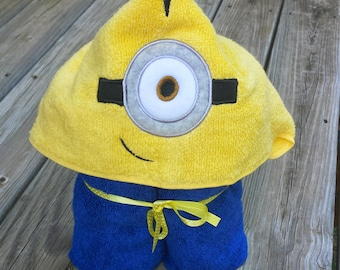 One Eyed Monster Embroidered Hooded Towel, Minion Inspired Hooded Bath Towel, Hooded Pool Towel, Kids Minion Towel