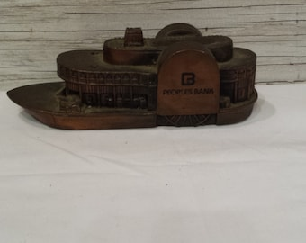 Vintage 1970s General Robert E. Lee Steamboat Bank by Barthrico for Peoples Bank.