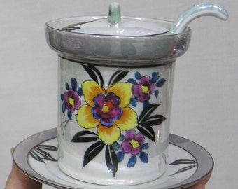 Vintage Mayonnaise Jar with Lid Ladle Underplate Lustre Floral Made in Japan