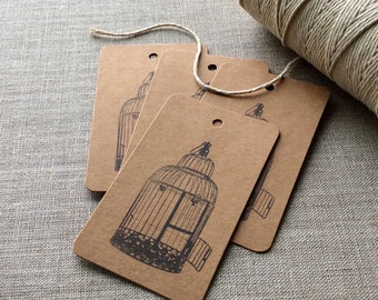 20 Birdcage gift tags, kraft bird cage gift tags, bird cage cards, etsy shop supplies, wedding favors, gift wrap