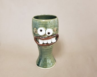 Wine Goblet for Her. Woman's Ceramic Wine Glasses. Stoneware Pottery Toasting Glass. Dessert Chalice in Green. Funny Faces Gag Gifts for Her