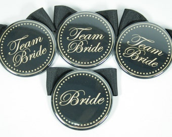 Set of 8 Bridesmaid Buttons with Bows, Bachelorette Buttons, Bridal Shower Name Tags, Bachelorette Name Tags