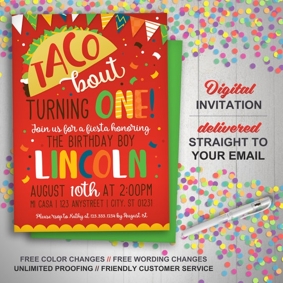 taco smash invitation taco 1st birthday invitation fiesta