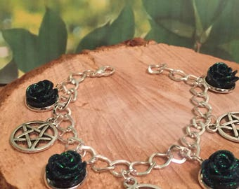 Pagan bracelet Pagan jewelry Occoult jewelry Wiccan jewelry Pentagram bracelet Witch Witchcraft Metaphysical Wicca Pentagram jewelry