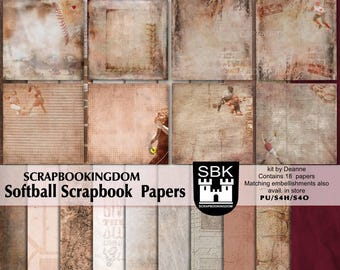 SOFTBALL digital Scrapbook papers. pages shown here show items from Matching embies pack also available in store *THIS is a Papers only pack