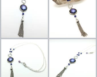 Indigo Galaxy Tassel Necklace