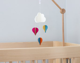Cot Arm Baby Mobile >> Hot Air Balloons Crib Mobile · 100% Merino Wool · White Cloud and Balloons · 22 Vibrant Colors