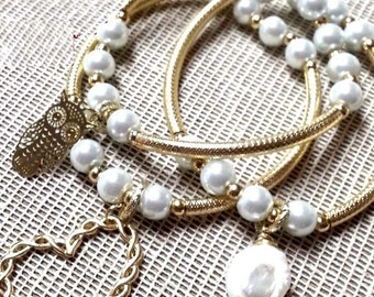 Natural Gold Coin Pearl Bracelets