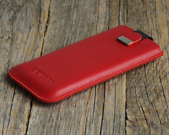 Red Leather Case HTC One M9+, Me, Desire 700 Sleeve with Magnetic Flap. ENGRAVED Genuine Leather Cover. Handmade Pouch.