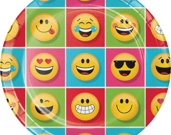 Emoji Dinner Plates [8ct] Smiley Face Emoiticon Birthday Party Tableware Table Supplies