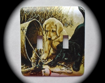 METAL Decorative Double Switch Plate ~ Puppies, Light Switchplate, Switch Plate Cover, Home Decor