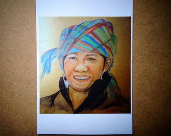 A6 post card ' woman in Sapa, Viet Nam ' to the Touch'Turkoiz