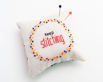 Pincushion Hand Embroidered/ Hand Embroidery pincushion/ Needleminder/ Stocking Filler