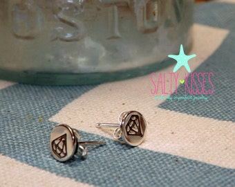Sterling Silver diamond tiny hand stamped post earrings jewelry pierced studs