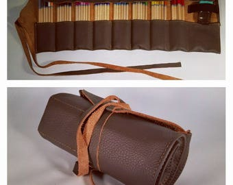 Gray and Tan Leather Pencil Roll, 48 ct, Leather pencil case, pen case, pen roll, leather marker roll, leather pencil wrap, sketch roll
