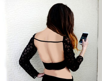 BACKLESS LACE TOP/Long Sleeve/Open Back/Crop Top with single strap detail/made to order