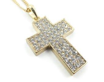 Vintage Rhinestone Cross Necklace, Gold Tone, STB36