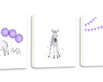 Kids Wall Art, Playroom Art, Baby Elephant, Giraffe Art, Zebra, Limited Edition Set of Three Gallery Wrapped Canvases - SO66WC