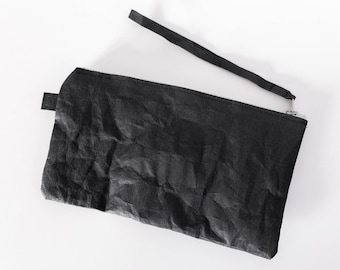 Vegan leather clutch bag | minimalist handbag | gift for her | purse | vegan gift | black washable kraft paper