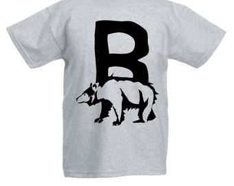 Kids Alphabet T Shirt / Letter B T-Shirt Childrens Boys Girls Bear Tee in Pink Grey Blue Yellow Orange / Ages: 3-4, 5-6, 7-8, 9-11, 12-13