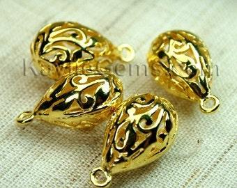 Gold Filigree Charm Teardrop 3D Victorian Lacy Floral Pendant Drops - 4pcs