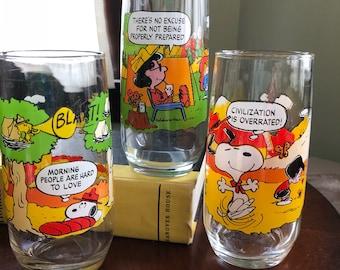 Peanuts Camp Snoopy Vintage McDonald's Glasses, set of 3