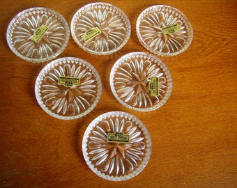 Vintage Crystal, set of six coasters, cut Crystal, for holiday, lead crystal, Germany table