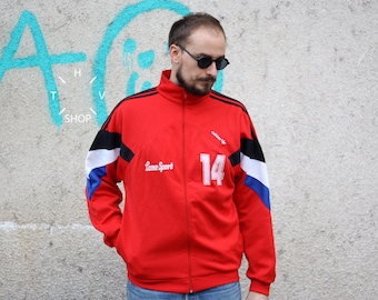 Vintage Adidas Originals track top / Unisex front zip jacket / Old school tracksuit top / Sports trefoil sweatshirt / made Malaysia 80s M L