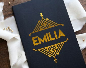 art deco black moleskin notebook journal // custom name