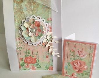 Handmade shabby chic vintage floral giftbag