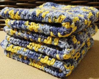 Blue and Yellow Ombre Crocheted Cotton Wash Cloths Set of Three