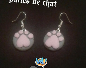 Cat polymer clay paws dangle earrings