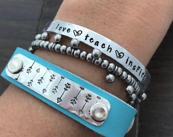 Teacher Gift. Teacher Appreciation gift. Bracelet. Hand Stamped Aluminum Bracelet- Love Teach Inspire. Hand stamped cuff. Personalized gift.