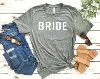 Bride Wedding Day Shirts - BRIDE - Bridal Party Getting Ready Squad Short-Sleeve Unisex T-Shirt