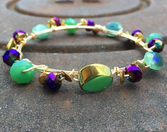 The Mint Julep bangle, purple, gold, and mint green beads wire wrapped, handmade, south mountain designs