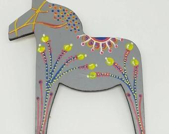 Hand painted mid century modern scandinavian style dala horse statement brooch in grey