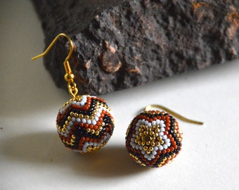 Seed beads earrings, Native American style, Boho style, Gypsy style