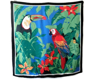 Parrot Silk Scarf, Colorful Parrot Print Scarf, Large Silk Scarf, Exotic Silk Scarf, Tropical Print Scarf, Birds Scarf, Tropical Birds