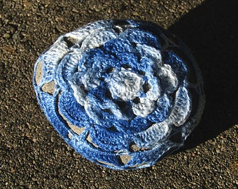 Blue Rose Sea Stone Paperweight crocheted lace fiber art thread crochet over stone