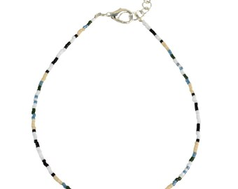 Southwest Anklet - Blue and Tan - Southwest Jewelry - Slim Ankle Bracelet