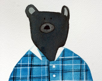 Bear original watercolor, grey and turquoise, children's art, bear in flannel shirt, square, whimsical, simple, bear in clothes, nursery art