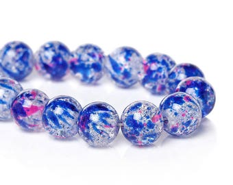 lot 5 blue speckled glass beads and pink 10mm