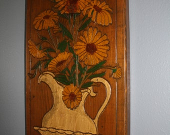 Wood Carved Flowers in Pitcher Wall Art Painted Wood Wall Hanging