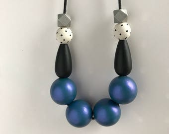 metallic wooden bead necklace - iridescent blue/purple, silver, black